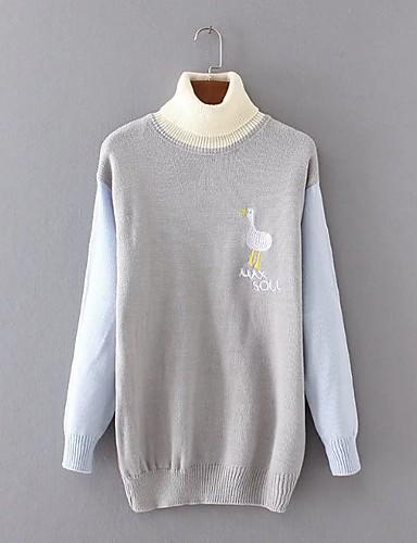 Damen Standard Pullover-Ausgehen Lässig/Alltäglich Einfach Niedlich Einfarbig Rollkragen Langarm Wolle Baumwolle Acryl Herbst Winter Dünn