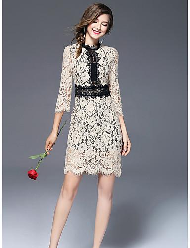 Damen Hülle Kleid-Ausgehen Niedlich Druck Ständer Übers Knie Halbe Ärmel Polyester Herbst Mittlere Hüfthöhe Mikro-elastisch Mittel
