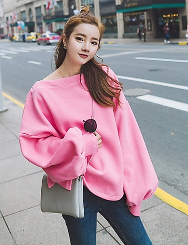 Damen Pullover Ausgehen Solide Rundhalsausschnitt Dehnbar Polyester Lange Ärmel Frühling Herbst