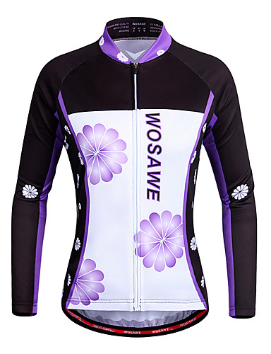 cheap Cycling Clothing-WOSAWE Women's Long Sleeve Cycling Jersey - Violet Floral Botanical Bike Jersey Top Quick Dry Sports Polyester Mountain Bike MTB Road Bike Cycling Clothing Apparel / Stretchy / Advanced / Advanced