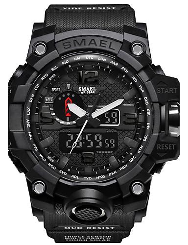 voordelige Digitaal Horloge-SMAEL Heren Sporthorloge Militair horloge Digitaal horloge Japans Silicone Zwart / Rood / Orange 50 m Waterbestendig Kalender Chronograaf Analoog-Digitaal Informeel Modieus - Donkergroen Zwart