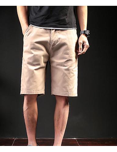 Herren Einfach Mittlere Hüfthöhe Unelastisch Kurze Hosen Gerade Hose Solide