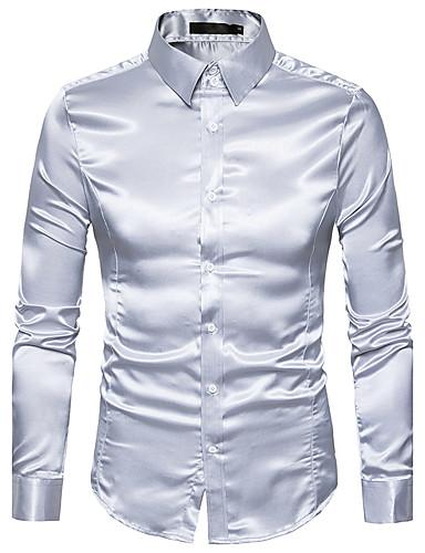 billige Herreskjorter-Spredt krave Tynd Herre - Ensfarvet Basale Luksus Skjorte Gul L / Langærmet