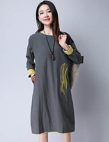 طول الركبة طباعة, لون الصلبة - فستان فضفاض فضفاض كلاسيكي & خالد للمرأة