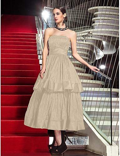 billige Feriekjoler-A-linje Stroppeløs Telang Taft Kjole med Plissert av TS Couture®