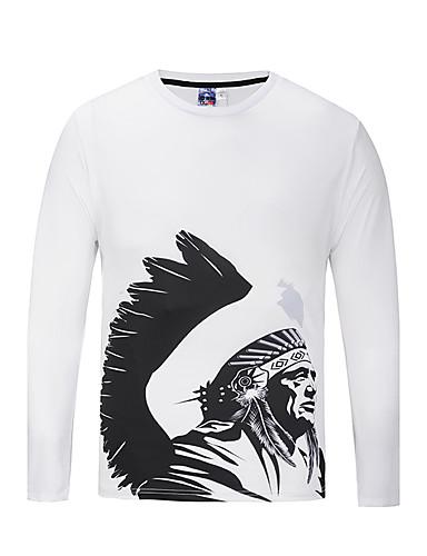Herren Druck Einfach Street Schick Lässig/Alltäglich T-shirt,Rundhalsausschnitt Herbst Langarm Polyester Mittel