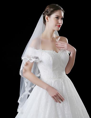 Einschichtig Spitzen-Saum Hochzeitsschleier Gesichts Schleier Mit Applikation Stickerei Spitze Tüll