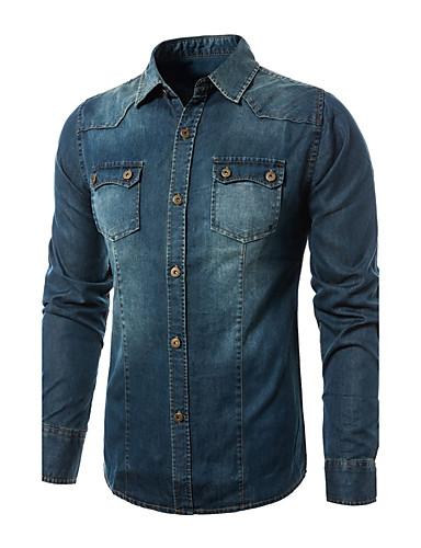 Men's Work Cotton Slim Shirt - Color Block Denim / Long Sleeve