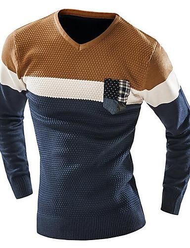 Herren Standard Pullover-Lässig/Alltäglich Einfach Solide Druck Einfarbig V-Ausschnitt Langarm Baumwolle Frühling Herbst Mittel
