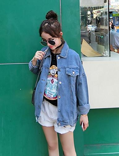 Damen Solide Einfach Lässig/Alltäglich Jeansjacke,Hemdkragen Herbst Lange Ärmel Standard Polyester