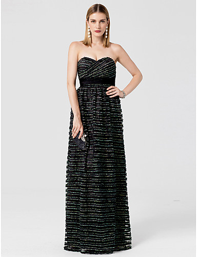 Sheath / Column Sweetheart Neckline Floor Length Lace / Tulle Cocktail Party / Prom / Formal Evening Dress with Sash / Ribbon / Tiered by