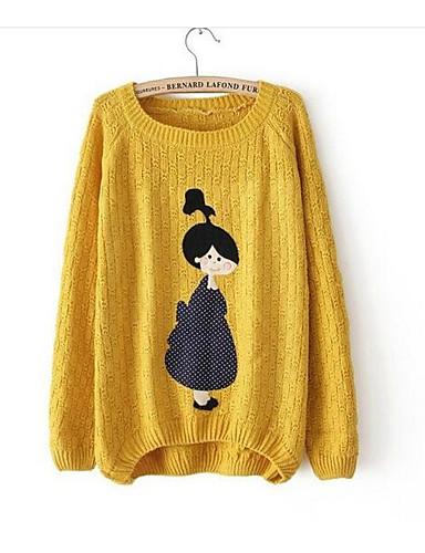 Damen Alltag Ausgehen Druck Niedlich Freizeit Pullover Langarm Rundhalsausschnitt Herbst Wolle