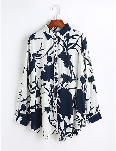 Damen Solide Druck Freizeit Alltag Hemd,Hemdkragen Langarm Baumwolle