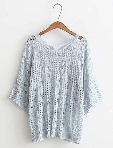 Damen Standard Pullover-Lässig/Alltäglich Ausgehen Einfach Solide Schulterfrei Halbe Ärmel Andere Frühling Herbst Mittel Dünn