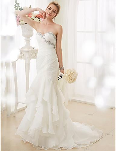 Sellő fazon Szív-alakú Seprő uszály Organza Made-to-Meature esküvői ruhák val vel Rátétek / Fodros által LAN TING BRIDE® / Open Back