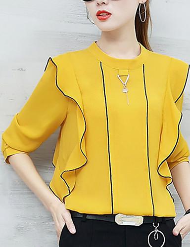 abordables Camisas y Camisetas para Mujer-Mujer Chic de Calle Noche Volante Blusa Un Color Amarillo L / Otoño