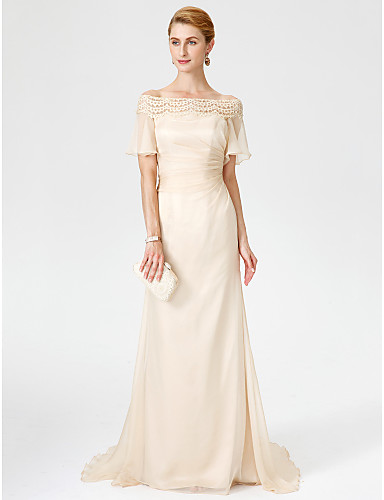 Sheath / Column Off Shoulder Sweep / Brush Train Chiffon Lace Mother of the Bride Dress with Pleats by LAN TING BRIDE®
