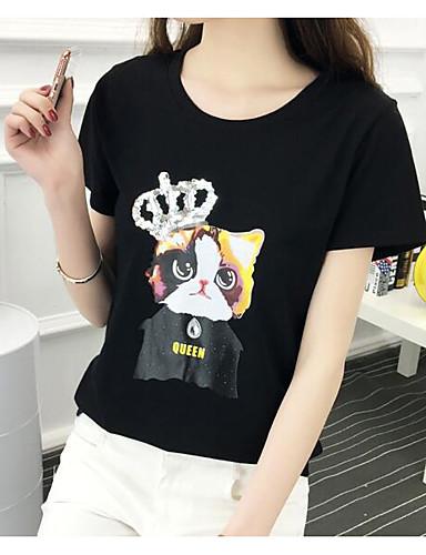 Damen Solide Tierfell-Druck Einfach Lässig/Alltäglich T-shirt,Rundhalsausschnitt Kurzarm Baumwolle