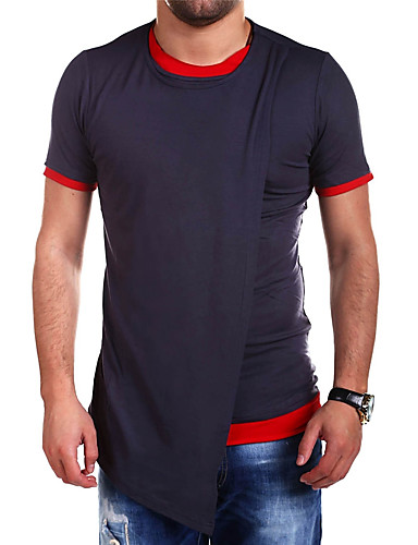 cheap Outdoor Clothing-Men's Solid Color Hiking Tee shirt Short Sleeve Outdoor Breathable Stretchy Sweat-wicking Comfortable Tee / T-shirt Top Summer Cotton Polyester Crew Neck Black Light Grey Dark Navy Camping / Hiking