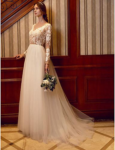 A-vonalú Bateau nyak Seprő uszály Csipke Tüll Egyéni esküvői ruhák val vel Rátétek Gyöngydíszítés által LAN TING BRIDE®