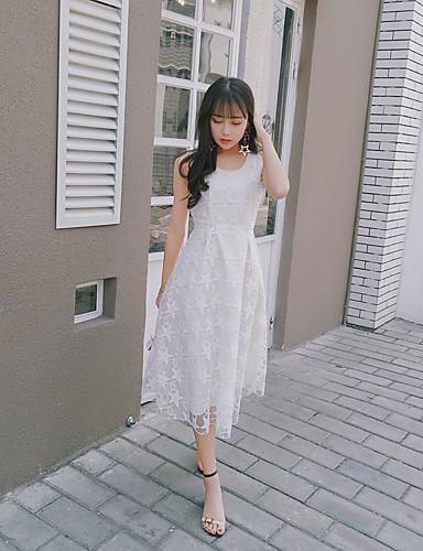 Damen Lose Kleid-Lässig/Alltäglich Einfach Solide Stickerei Rundhalsausschnitt Midi Kurzarm Polyester Sommer Mittlere Hüfthöhe Unelastisch
