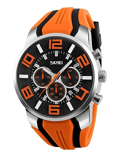 Men's Sport Watch / Military Watch / Wrist Watch Japanese Calendar / date / day / Water Resistant / Water Proof / Creative Silicone Band Casual / Bangle / Fashion Black / Blue / Red / Large Dial