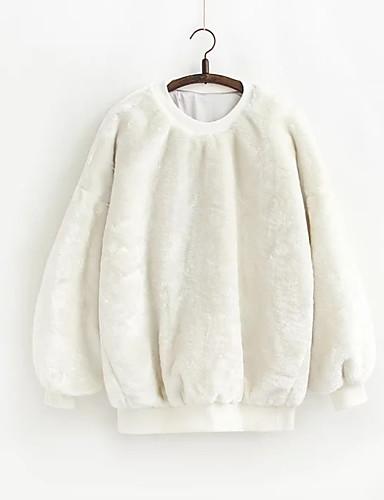 Damen Pullover Lässig/Alltäglich Solide Rundhalsausschnitt Mikro-elastisch Polyester Lange Ärmel Winter