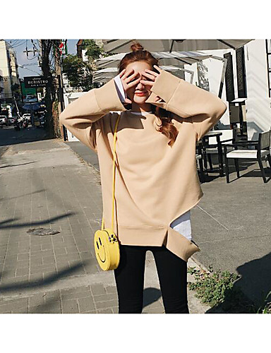Damen Pullover Sport Lässig/Alltäglich Ausgehen Einfach Aktiv Boho Solide Rundhalsausschnitt Fleece-Futter Mikro-elastisch Baumwolle