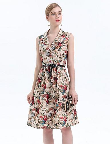 Damen Hülle Kleid-Ausgehen Arbeit Retro Anspruchsvoll Druck V-Ausschnitt Midi Ärmellos Kunstseide Polyester Alle Saisons Hohe Hüfthöhe