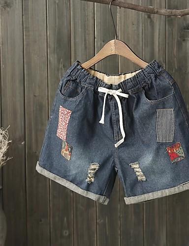 Damen Street Schick Mittlere Hüfthöhe Mikro-elastisch Jeans Kurze Hosen Lose Hose Solide Patchwork