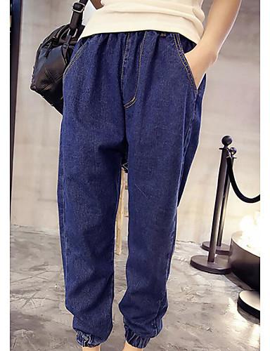 Damen Einfach Mittlere Hüfthöhe Mikro-elastisch Lose Hose Solide