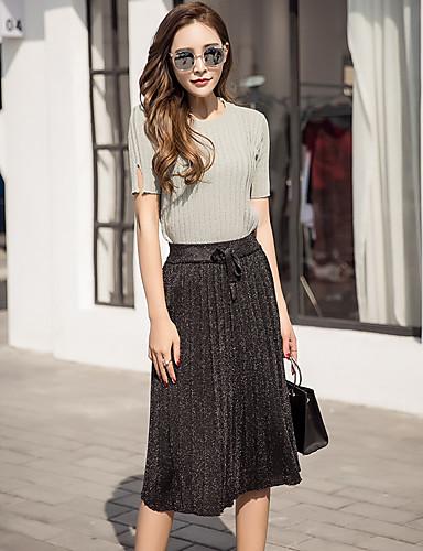Damen Solide Einfach Ausgehen T-Shirt-Ärmel Rock Anzüge,Rundhalsausschnitt Frühling Kurzarm