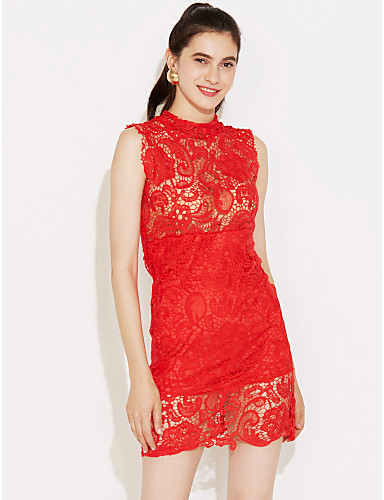 Women's Lace Red/White/Black Dress,Sexy Mini Stand Collar Sleeveless