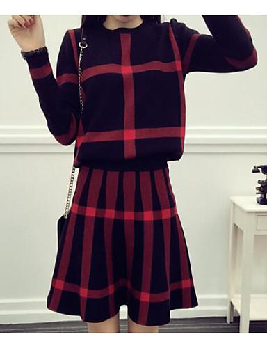 Damen Plaid/Karomuster Einfach Ausgehen Kapuzenshirt Rock Anzüge,Rundhalsausschnitt Frühling Herbst Lange Ärmel Mikro-elastisch