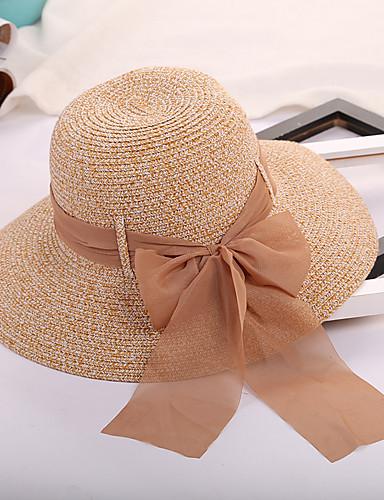 Mujer Lazo   Color puro Sombrero de Paja   Sombrero para el sol - Sombrero  Un Color 6183249 2019 –  15.99 1acc00537c4