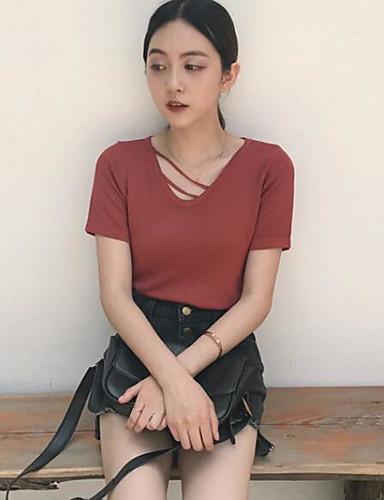 Damen Standard Pullover-Strand Solide V-Ausschnitt Kurzarm Andere Sommer Mittel Mikro-elastisch