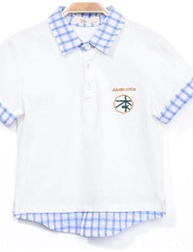 Jungen Hemd einfarbig Baumwolle Sommer Kurzarm Normal