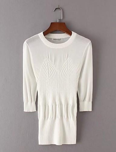 Damen Standard Pullover-Ausgehen Lässig/Alltäglich Einfach Solide Rundhalsausschnitt Langarm Polyester Frühling Herbst Dünn Mittel