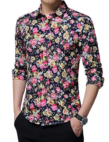 cheap Men's Shirts-Men's Party / Work Boho Plus Size Cotton Shirt - Floral Jacquard / Long Sleeve
