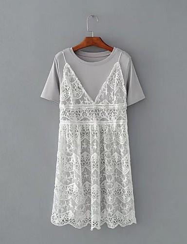 Damen Solide Sexy Strand T-shirt Rock Anzüge,Rundhalsausschnitt Sommer Kurze Ärmel Spitze Elastisches Garn