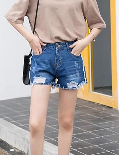بنطلون جينزات مطاط صغير ساق عريضه مرتفع بسيط سادة نساء