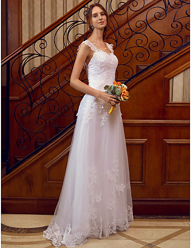 A-Line Straps Floor Length Lace Over Tulle Made-To-Measure Wedding Dresses with Appliques / Lace by LAN TING BRIDE® / See-Through