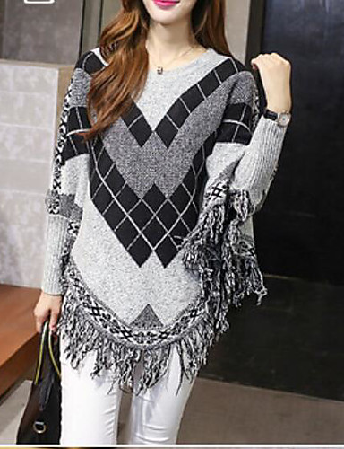 Women's Long Sleeve Cotton Long Pullover - Geometric / Fall / Winter