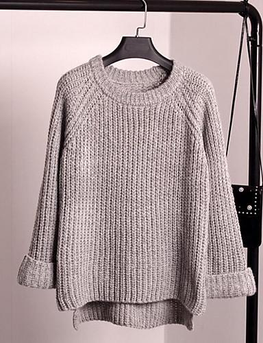 Damen Standard Pullover-Lässig/Alltäglich Einfach Solide Rundhalsausschnitt Langarm Baumwolle Herbst Mittel Mikro-elastisch