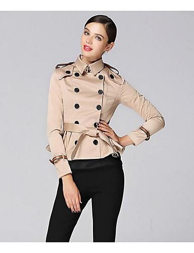 Damen Solide Einfach Lässig/Alltäglich Trench Coat,Hemdkragen Herbst Lange Ärmel Kurz Polyester