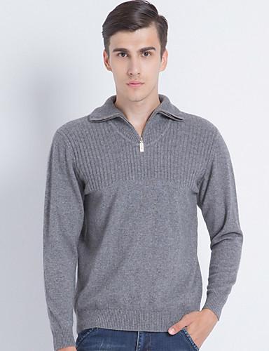Herren Standard Pullover-Lässig/Alltäglich Arbeit Solide Einfarbig V-Ausschnitt Langarm Polyester Frühling Herbst Mittel Dehnbar