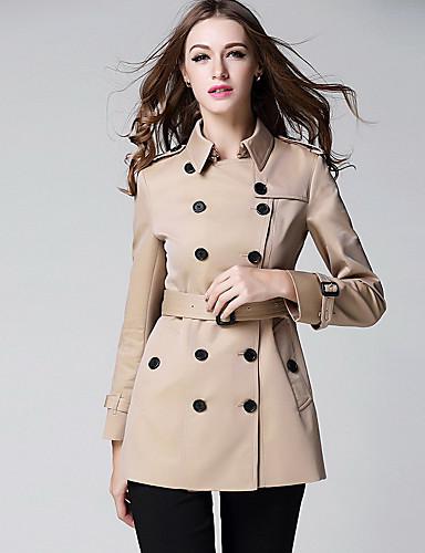 Damen Solide Einfach Freizeit Alltag Standard Trench Coat, Hemdkragen Herbst Polyester