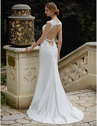 Sellő fazon Szíj Seprő uszály Szatén Egyéni esküvői ruhák val vel Rátétek által LAN TING BRIDE®