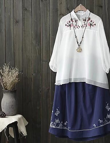 Damen Solide Stickerei Einfach Niedlich Ausgehen Lässig/Alltäglich Bluse,Ständer Sommer Herbst Langarm Baumwolle Kunstseide Dünn Mittel