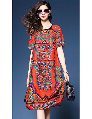 طول الركبة طباعة فستان A خط فضفاض قديم أناقة الشارع للمرأة